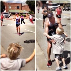"Edwin Ryker's son, Griffin Ryker, cheers for his father during the Augusta IRONMAN 70.3. ""He was so excited, and I was about to die,"" says Edwin Ryker."