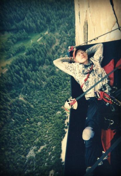 Larry naps on a 9-day climb up California's El Capitan