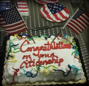 The cake from Paula's co-workers after she became a citizen of the U.S.